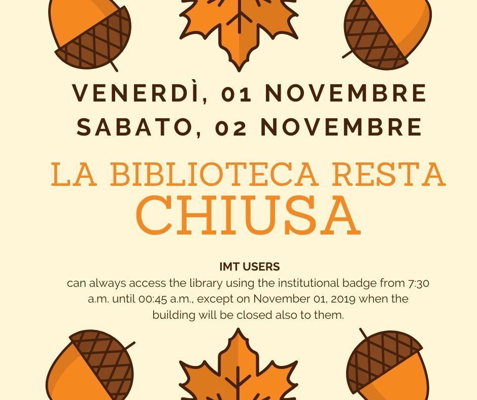 Chiusure festività Ognissanti - Library clousures